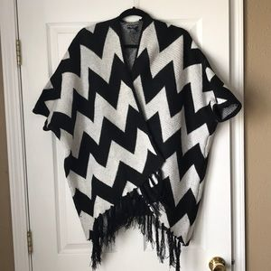Jackets & Blazers - David Young chevron fringe poncho